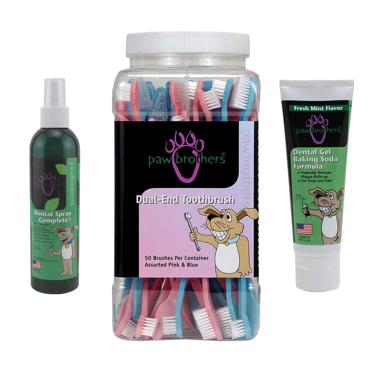 Paw Brothers Dental Spray, Dual-End Toothbrushes, and Dental Gel for Dogs