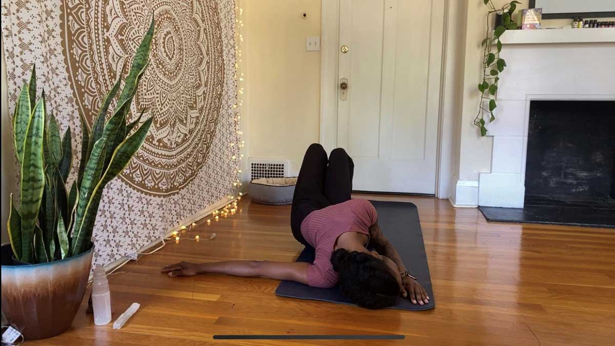 Step 3 of Shoulder Opener - yoga for groomers
