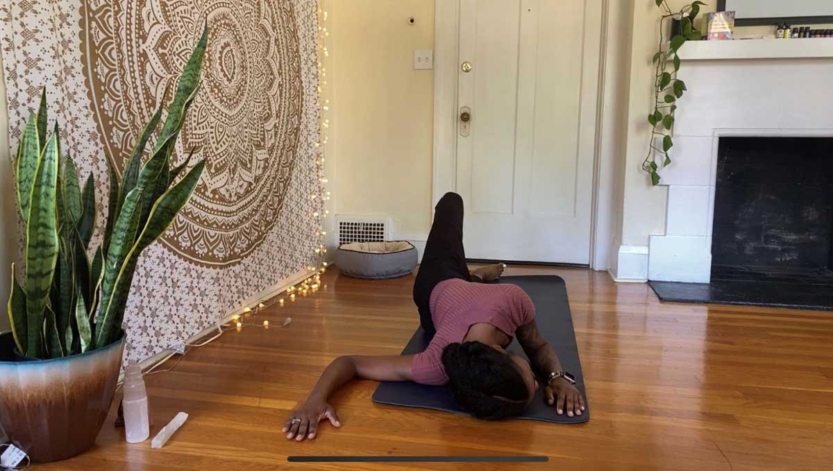 Step 4 of Shoulder Opener - yoga for groomers