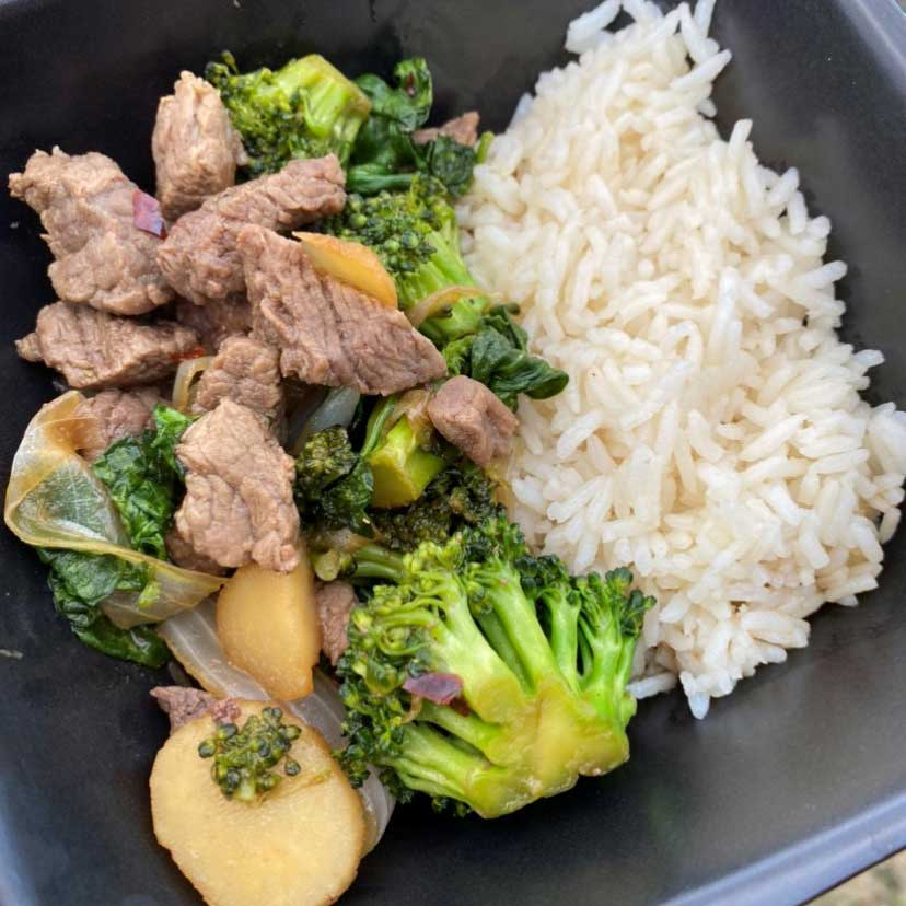 Beef and broccoli with jasmine rice