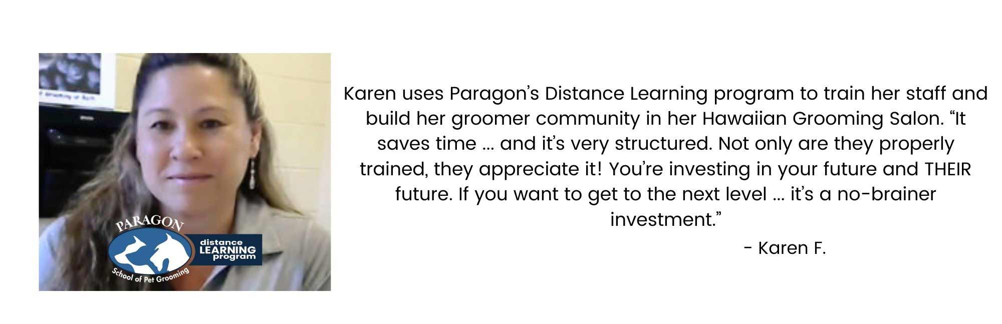 Karen's Paragon Distance Learning Program Success Story