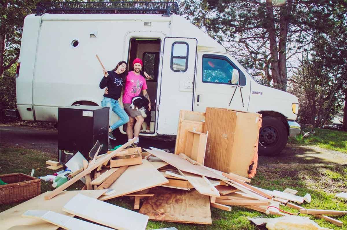 Britt and Steve outside their camper van