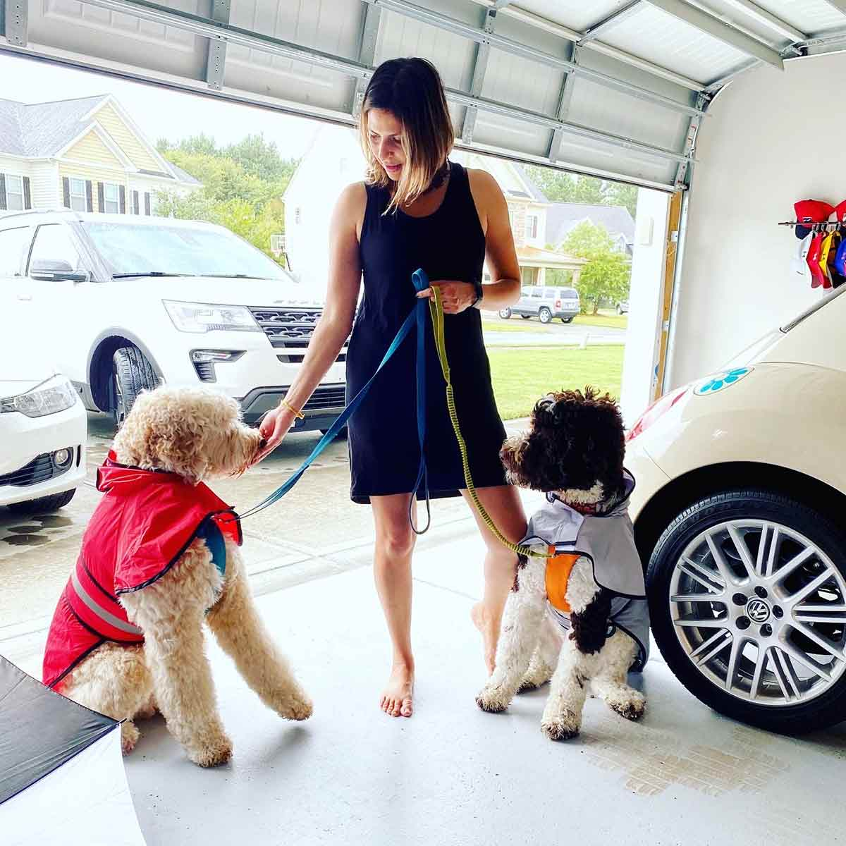 Perla with her two doodles, Bruno and Luca