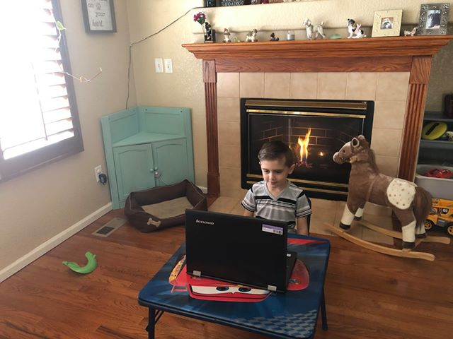 """Sara's son """"working from home"""""""