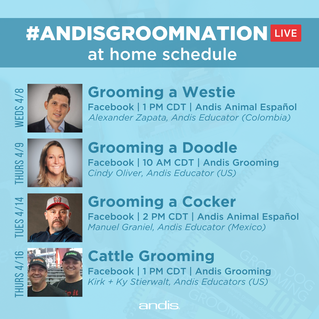 #AndisGroomNation at home live demos for quarantined groomers