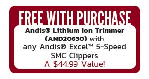 Free Andis Grooming Trimmer with the purchase of an Andis Excel 5-Speed Clipper