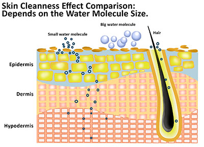 Skin cleanness effect comparison - depends on the water molecule size