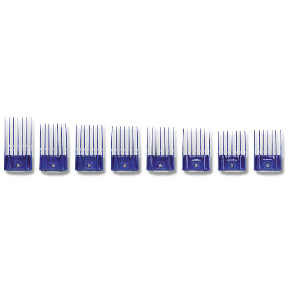 Line up of Large Andis 8 Piece Snap-On Comb Set