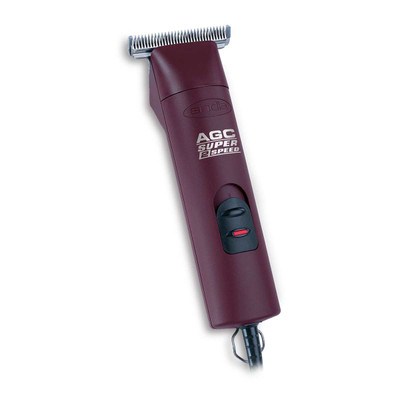 Maroon Andis Super 2-Speed Detachable Clipper with T-84 Blade for large animal equine use