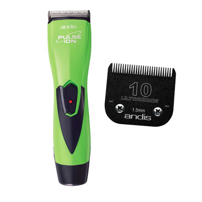 Andis Pulse Ion Lithium Ion Clipper Lime Green and #10 Blade Bundle