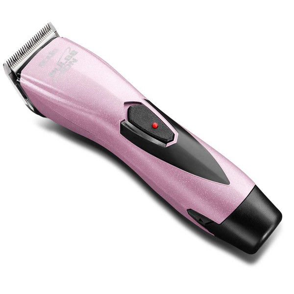 Side view of Pink Andis Pulse Ion Lithium Ion Grooming Clipper