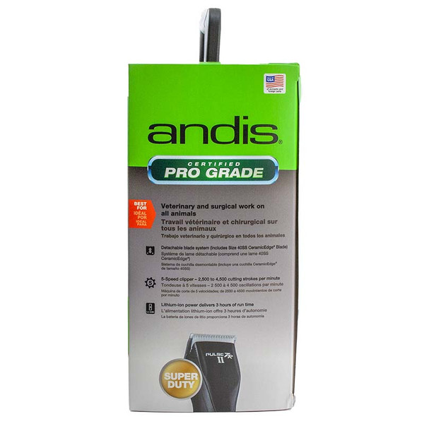 Side of Andis Pulse ZR II Vet Pack 5-Speed Rechargeable Clipper and #40 SS Blade