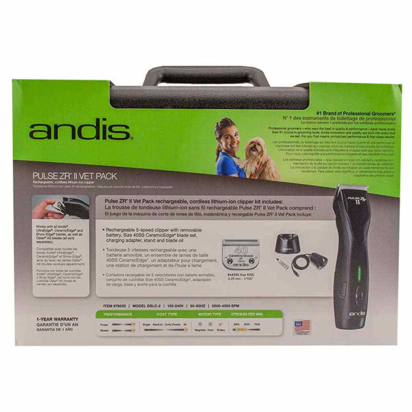 Back of Box for Andis Pulse ZR II Vet Pack 5-Speed Rechargeable Clipper and #40 SS Blade