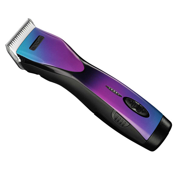 Side Angle of Andis PulseZR II Li+ Cordless 5-Speed Purple Galaxy Rechargeable Clipper
