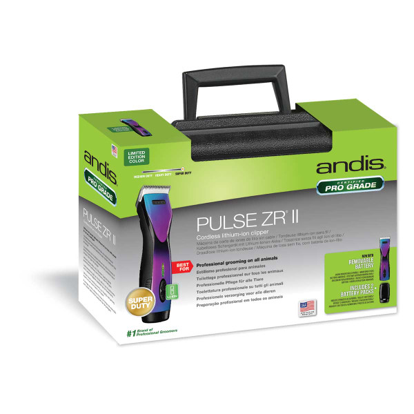 Front of Box for Andis PulseZR II Li+ Cordless 5-Speed Purple Galaxy Rechargeable Clipper