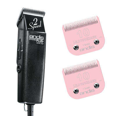 Andis AG 2-Speed Grooming Clipper and 2 Pink EGT Number 10 Blades Bundle