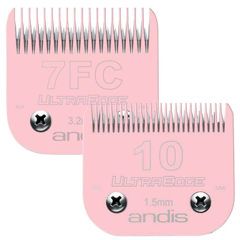 Pink Andis EGT UltraEdge Blades 2 Pack with #10 Blade & #7FC Blade