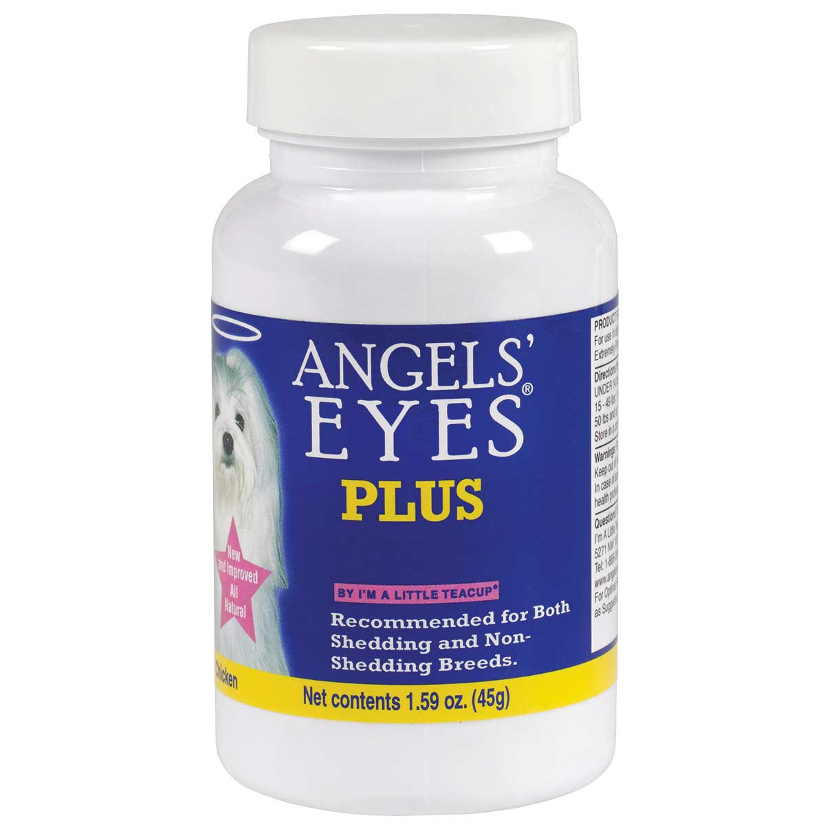 Angels' Eyes Natural Plus Chicken 45 Gram Eye Stain Vitamins for Dogs and Cats