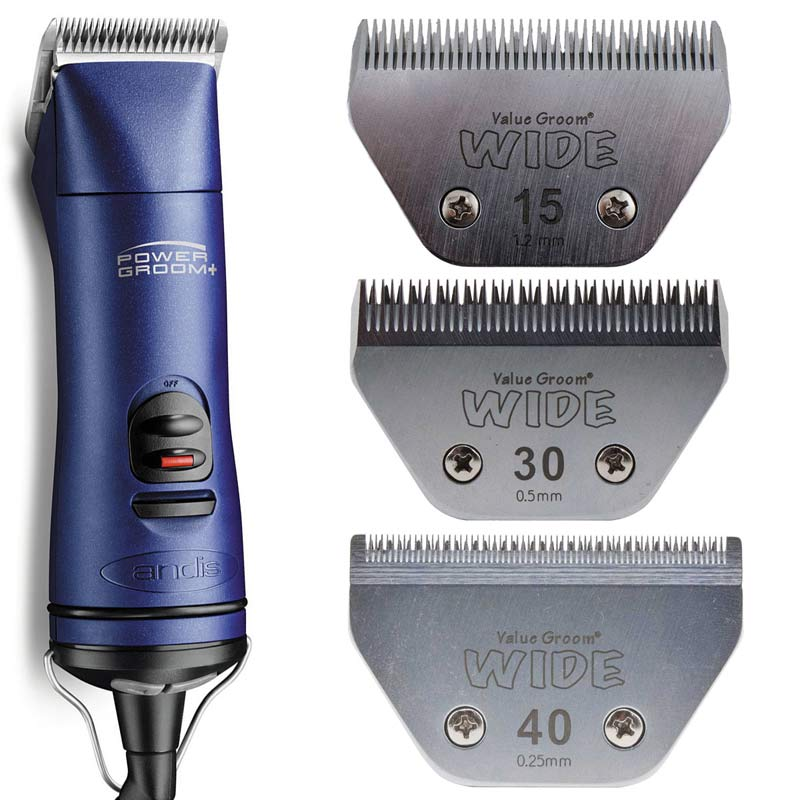 Andis Power Groom+ 5 Speed Detachable Blade Clipper Kit with #15W Value Groom Blade, #30W Value Groom Blade and #40W Value Groom Blade