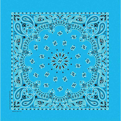 Poly/Cotton Light Blue Paisley Bandanna for Dogs by Fancy Finishes