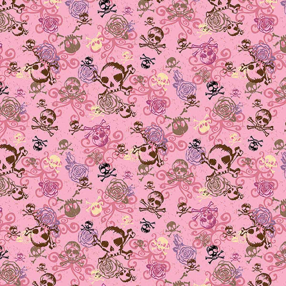 Zoomed out Poly/Cotton Blend Pink Skulls Bandanna for Pets from Fancy Finishes
