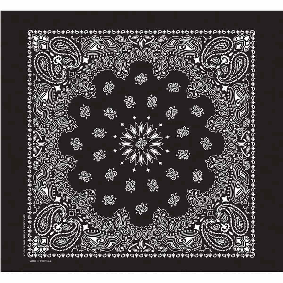 Poly/Cotton Blend Black Paisley Bandanna for Pets and Dogs by Fancy Finishes