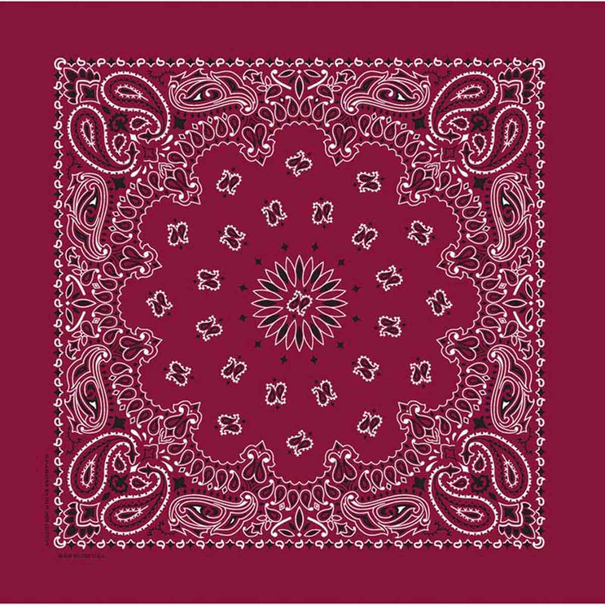 Poly/Cotton Blend Burgundy Paisley Bandanna for Dogs and Cats by Fancy Finishes