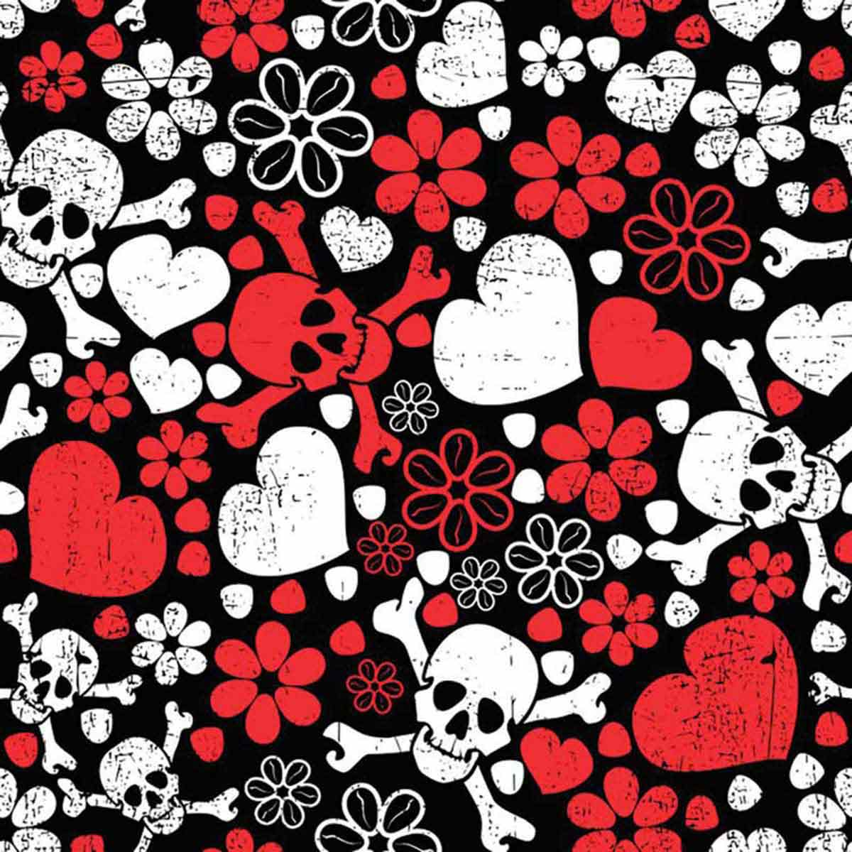 Poly/Cotton Blend Modern Love with Skulls and Hearts Bandanna for Pets by Fancy Finishes