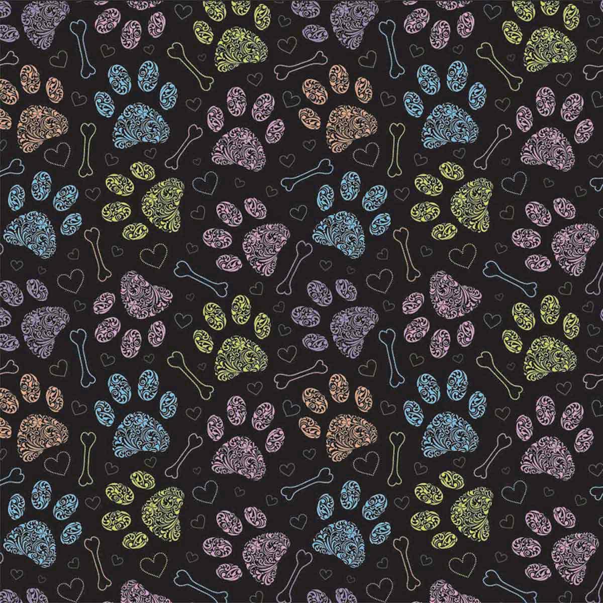 Colorful Paw Dog Bandana