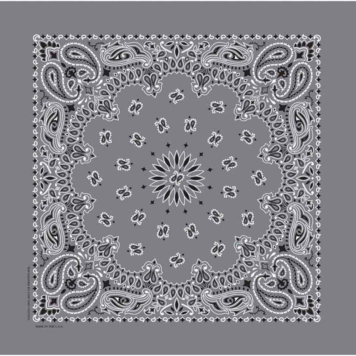 Square Poly/Cotton Blend Charcoal Paisley Bandanna for Dogs and Cats by Fancy Finishes