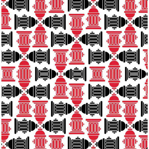 Square Fire Hydrant RedBlack PolyCotton Bandanna for Dogs from Fancy Finishes