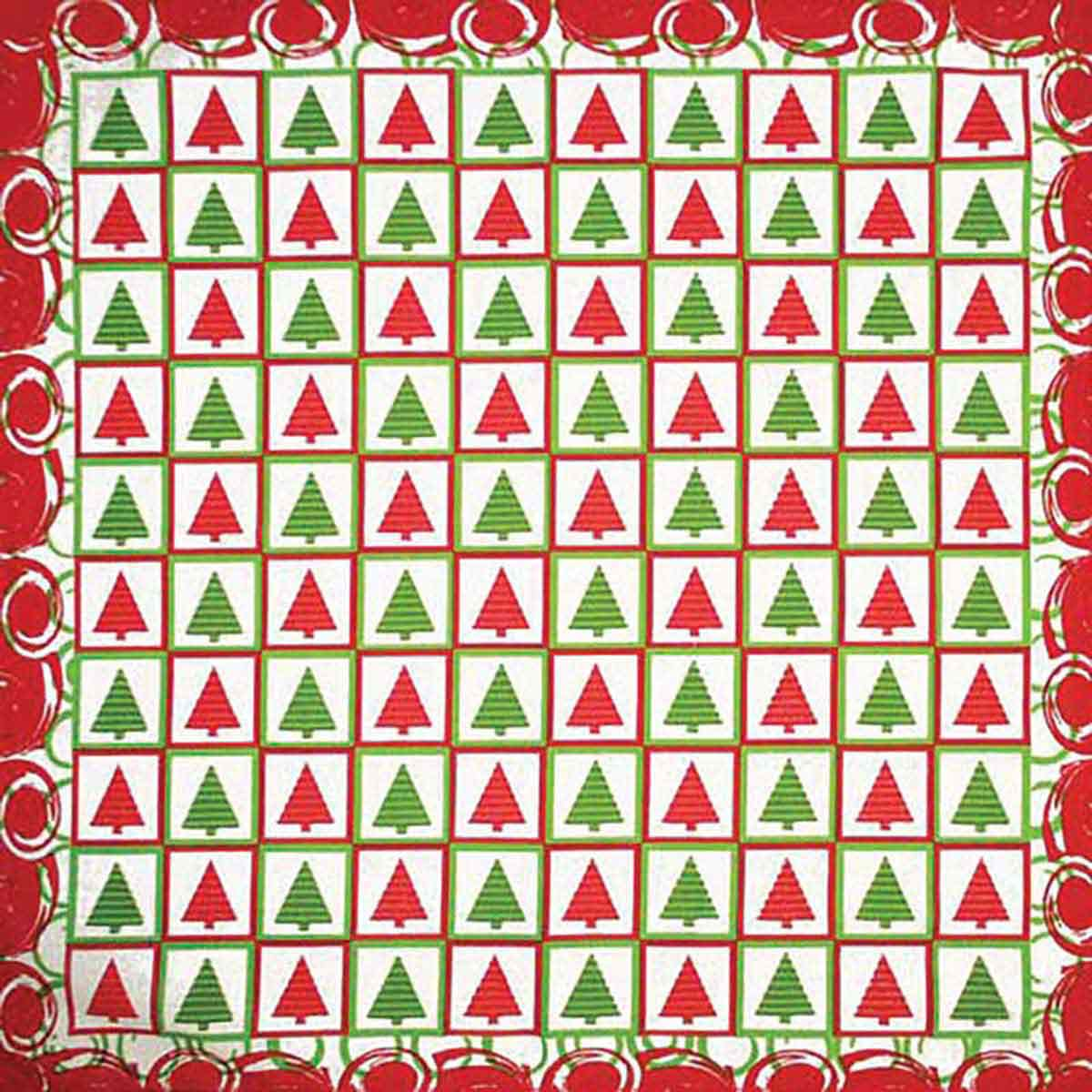 Fancy Finishes Poly/Cotton Blend Christmas Checkers Christmas Tree Dog Bandanna