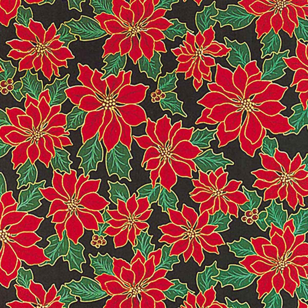 Fancy Finishes Square Poly/Cotton Blend Green Poinsettia Dog Bandanna