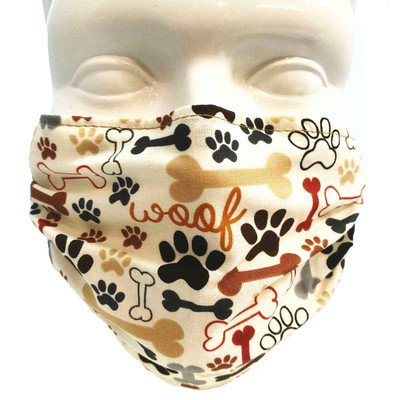 Dog Bones and Paw Prints Breathe Healthy Mask