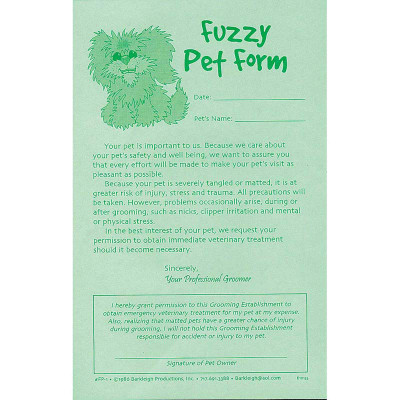 Barkleigh Fuzzy Pet Release Form Pad Of 50 for Professional Groomers