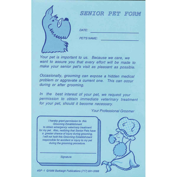 Barkleigh Senior Pet Release Form Pad Of 50 for Professional Groomers