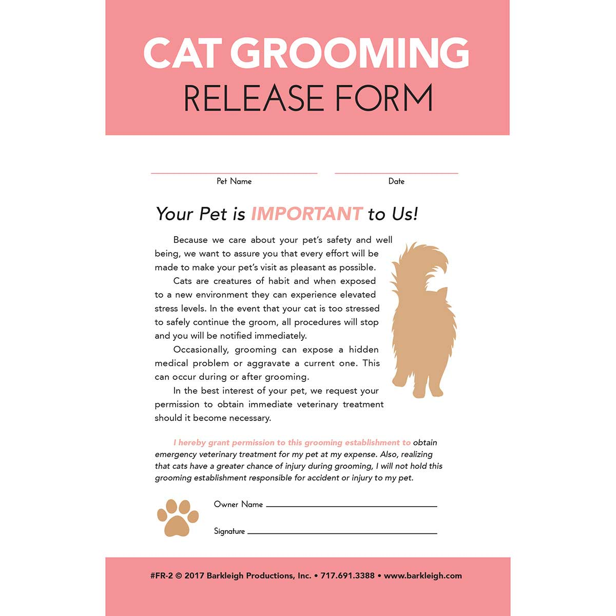 Cat Release Form for Groomers - 50 Count
