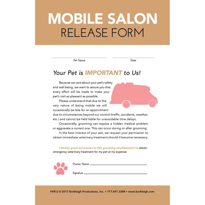 Mobile Pet Release Form for Groomers- 50 Count