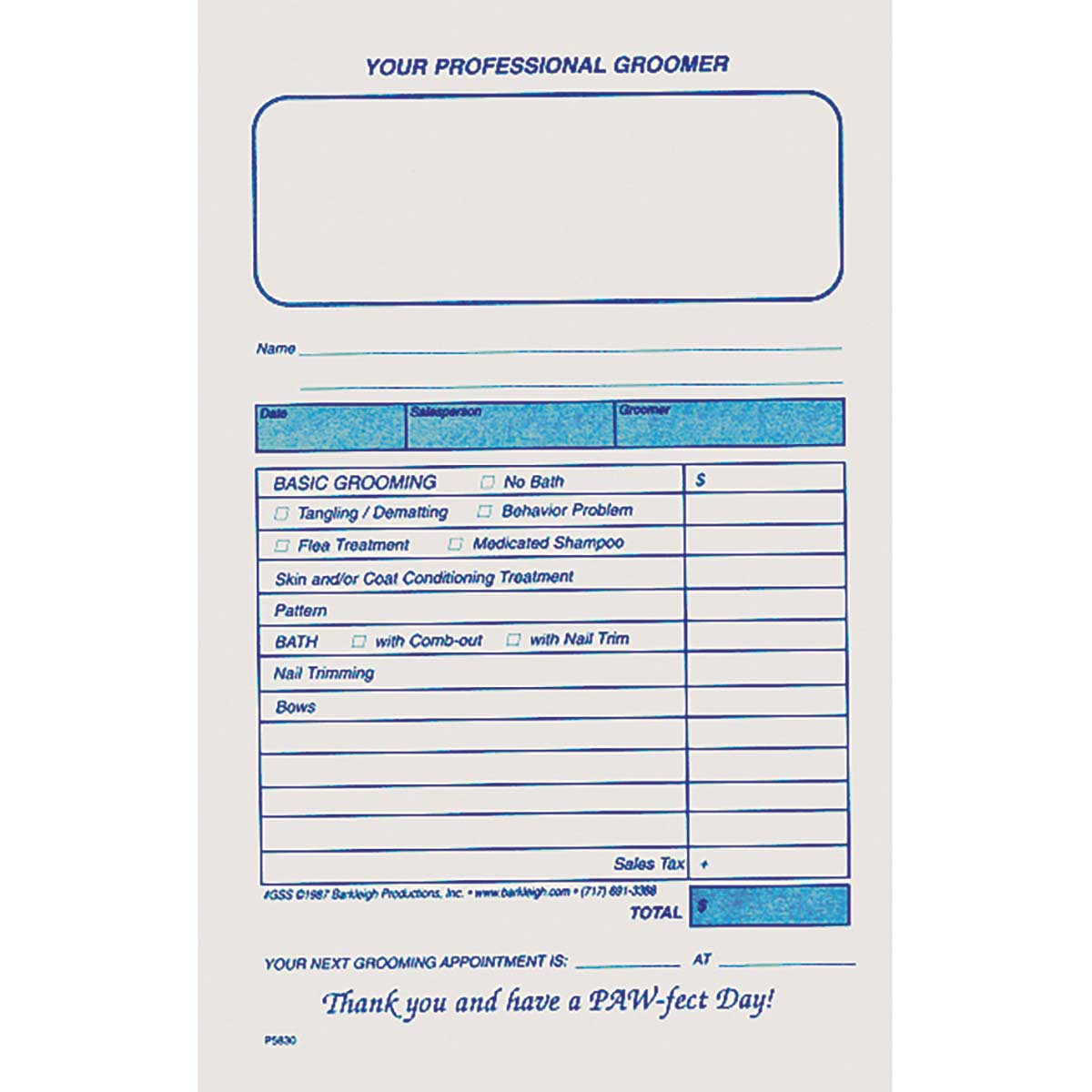 Barkleigh Groomer Sales Slips - 100 Count for Professional Groomers