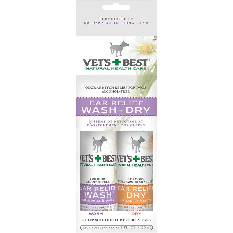 Barkleigh Vet's Best Ear Relief Wash + Dry Combo Kit for Dogs - Natural Health Care