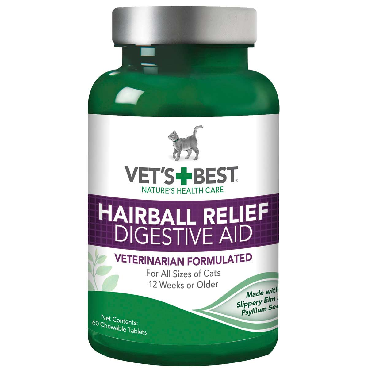 60 Count Vet's Best Hairball Relief Chewable Tablets for Cats