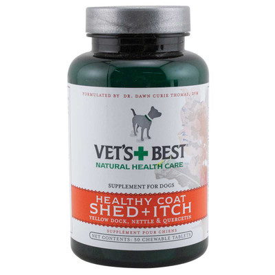 50 Count Vet's Best Healthy Coat Shed + Itch Chewable Tablets for Dogs