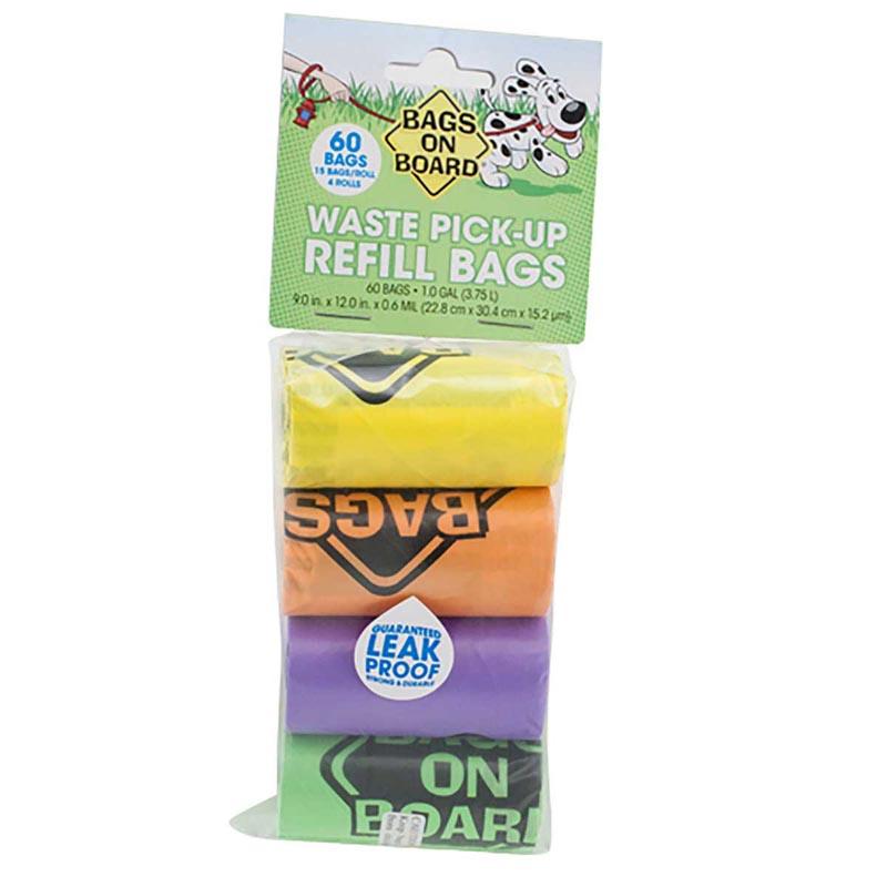 60 Bags Bags on Board Rainbow Poop Bag Refill Pack