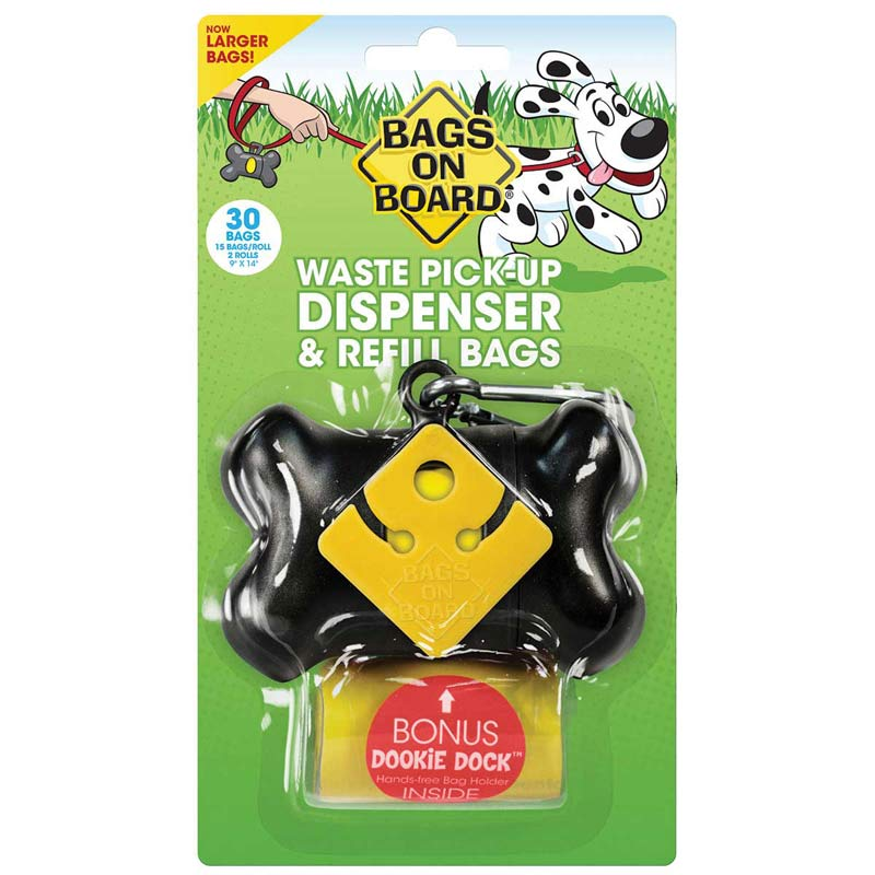 Bags on Board Black Bone Waste Pick Up Dispenser with Refill & Dookie Dock - 30 Larger Poop Bags