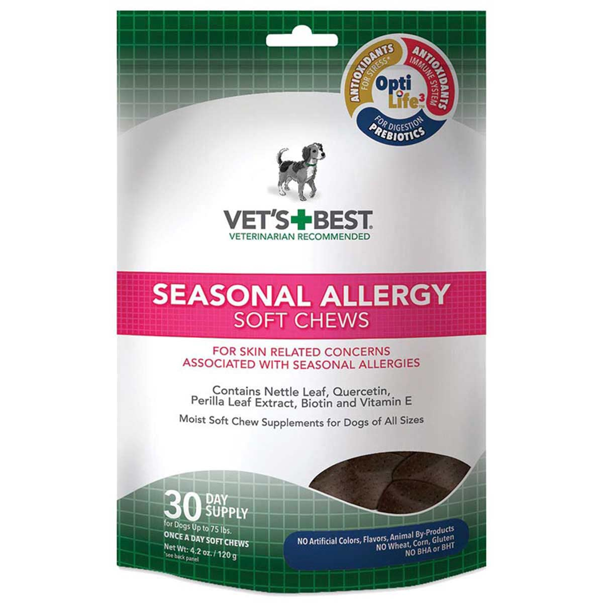 Vet's Best Seasonal Allergy Soft Chews for Dogs up to 75 lbs 30-Day Supply