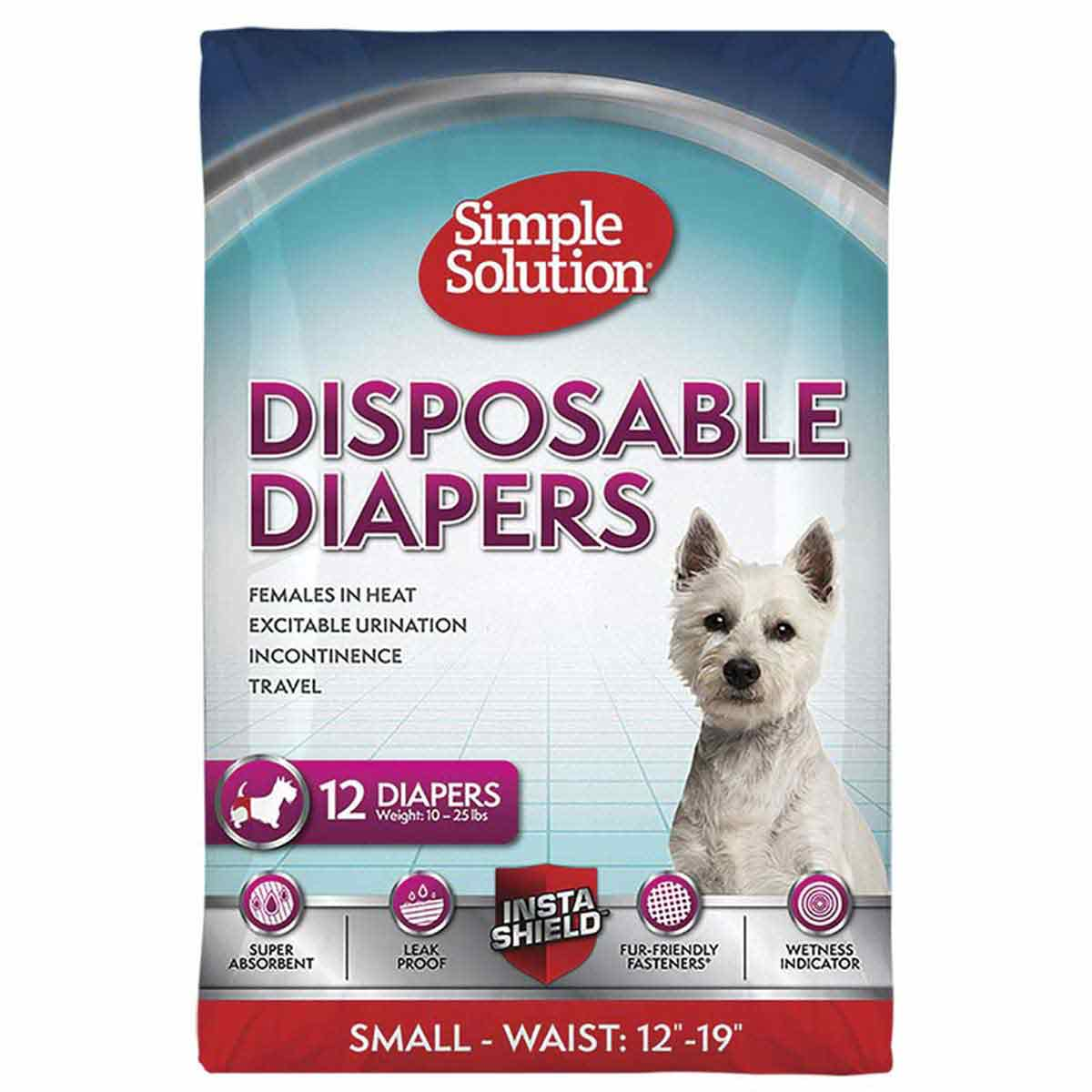 Small Simple Solution Disposable Diapers for dogs 12 Pack 10-25 lbs