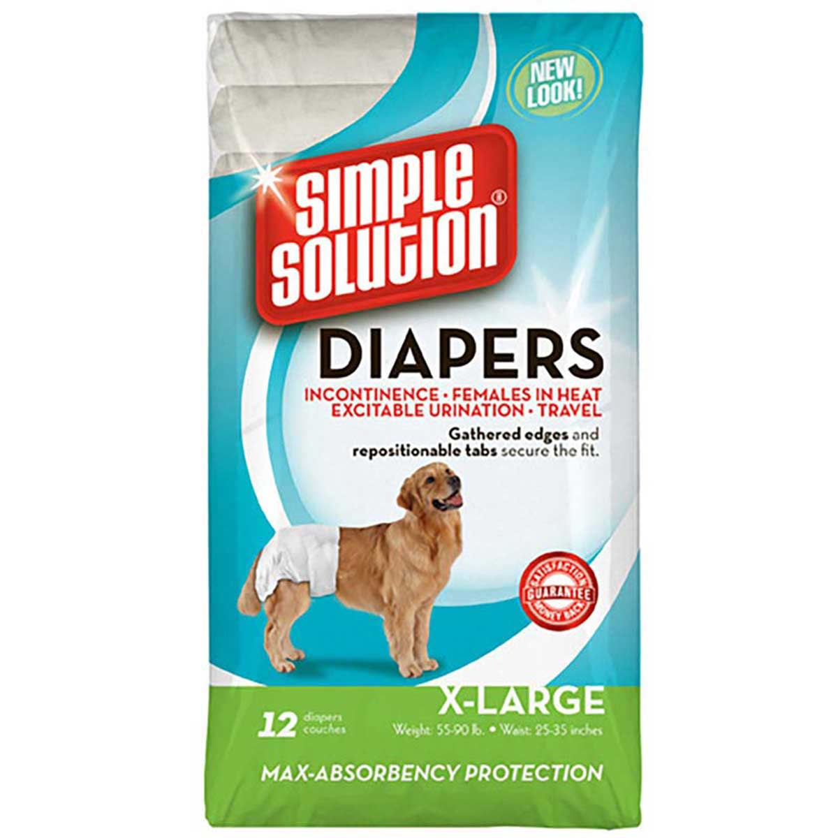 Simple Solution Disposable Dog Diapers X-Large 12 Pack