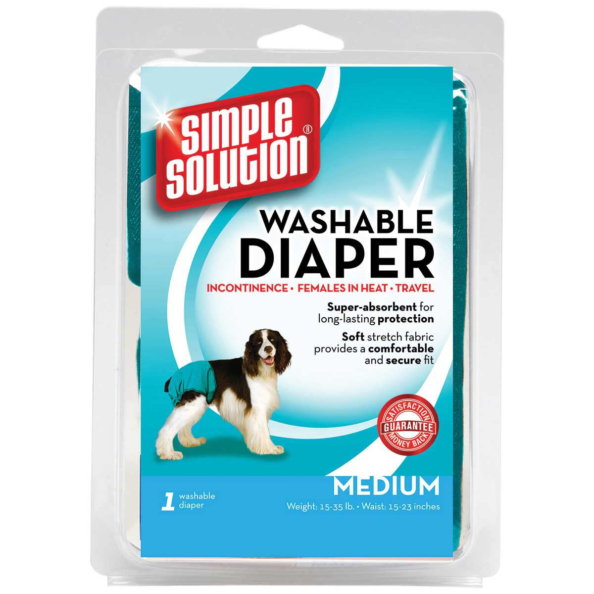 Simple Solution Washable Dog Diaper Garment Medium 15-35 Lbs