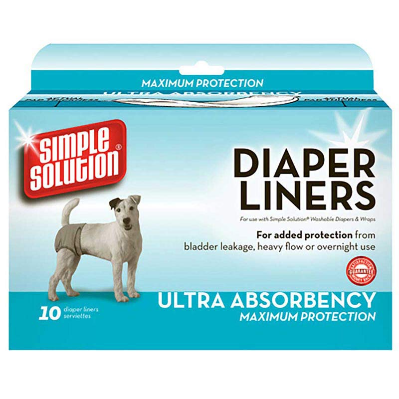 Size Large Simple Solution Washable Dog Diaper Liners Box of 10