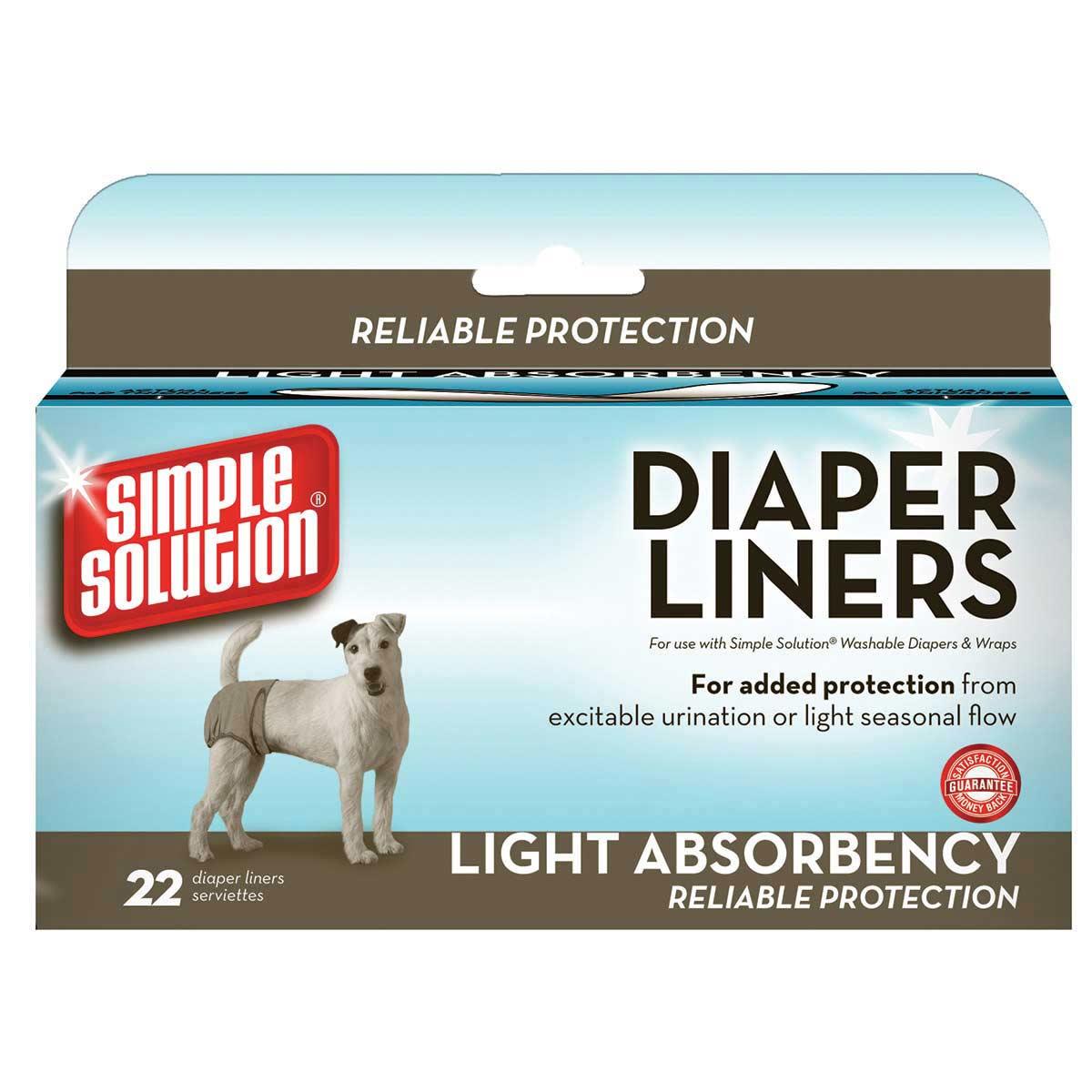 Regular Size Simple Solution Dog Diaper Liner Garment Pads 22 Count